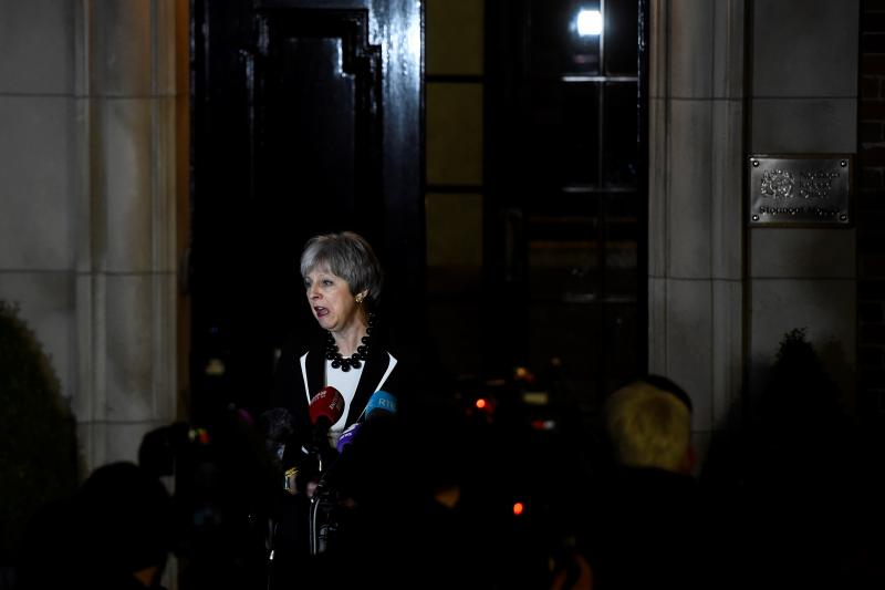 BritishPrime Minister Theresa May speaks outside Stormont House, in Belfast, Northern Ireland, February 2018.