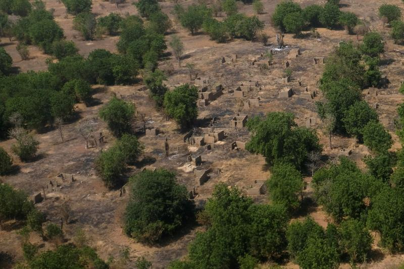 An aerial view of buildings standing on scorched ground that have been destroyed in the conflict with Boko Haram in the Bama region of Borno state, Nigeria, November 2017.