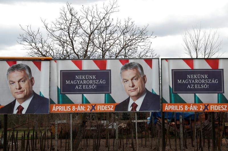 Election billboards for Hungarian Prime Minister Viktor Orban, April 2018.