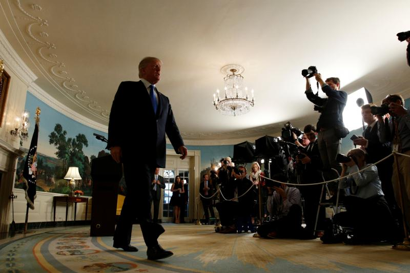 U.S. President Donald Trump walks from the Diplomatic Reception Room after speaking about the Iran nuclear deal at the White House in Washington, October 2017.