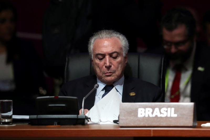 Brazilian President Michel Temer looks on during the opening session of the Americas Summit in Lima, Peru, April 2018.