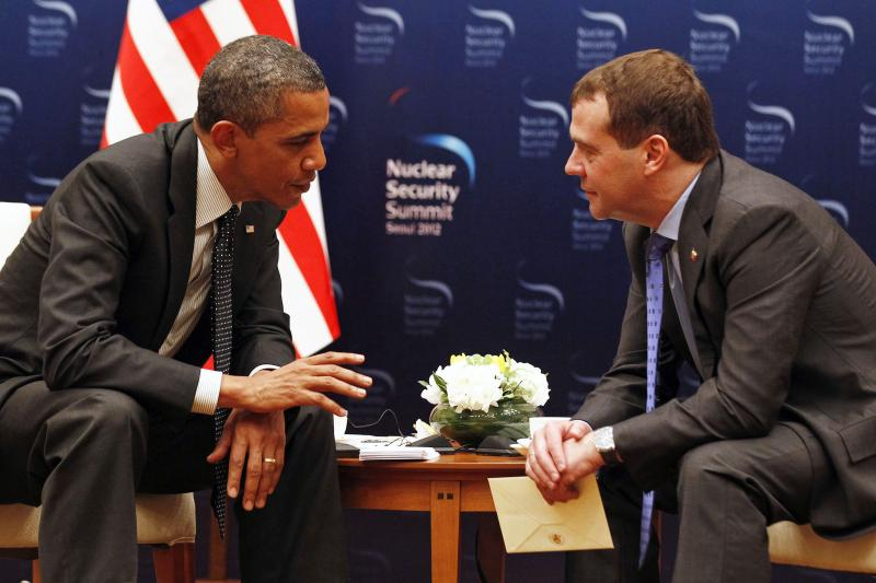 Obama and Medvedev at the 2012 Nuclear Security Summit in Seoul, March 2012.