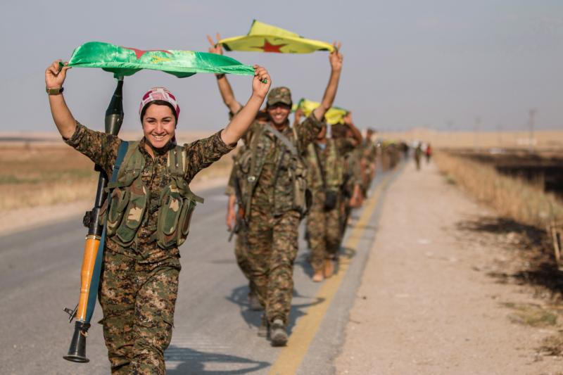 Kurdish fighters in Tel Abyad of Raqqa governorate, June 2015.