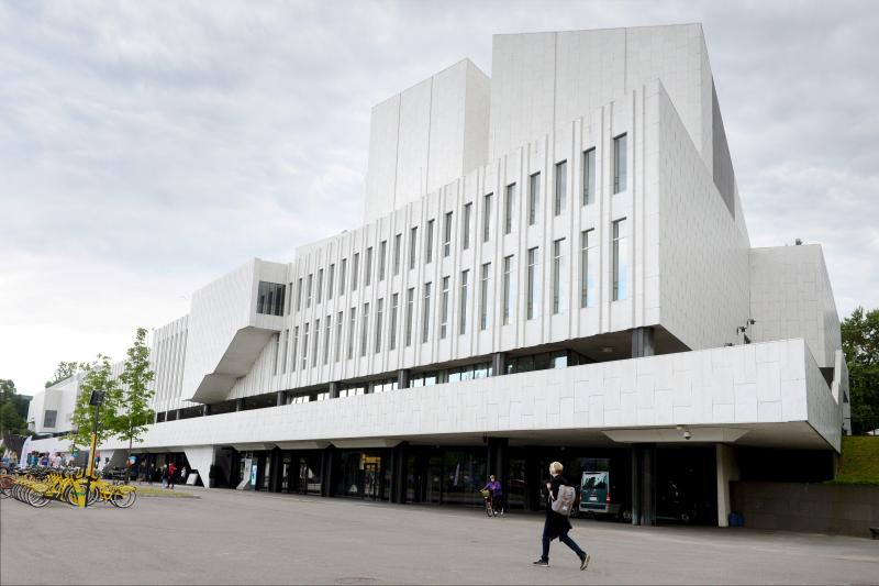 Finlandia Hall, which will serve as a media centre during the meeting of U.S. President Donald Trump and Russian President Vladimir Putin, is pictured in Helsinki, July 2018.