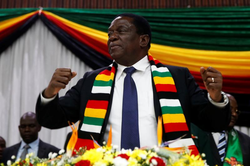 Zimbabwe President Emmerson Mnangagwa announces the date for the general elections in Harare, May 2018.