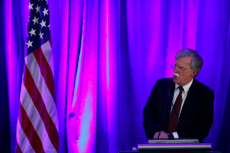 """National Security Adviser John Bolton discusses """"Protecting American Constitutionalism and Sovereignty from International Threats"""" at a forum in Washington, September 2018."""