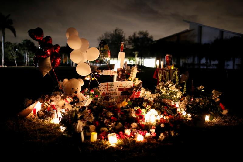A memorial to the victims of the mass shooting at Marjory Stoneman Douglas High School, Parkland, Florida, February 2018.