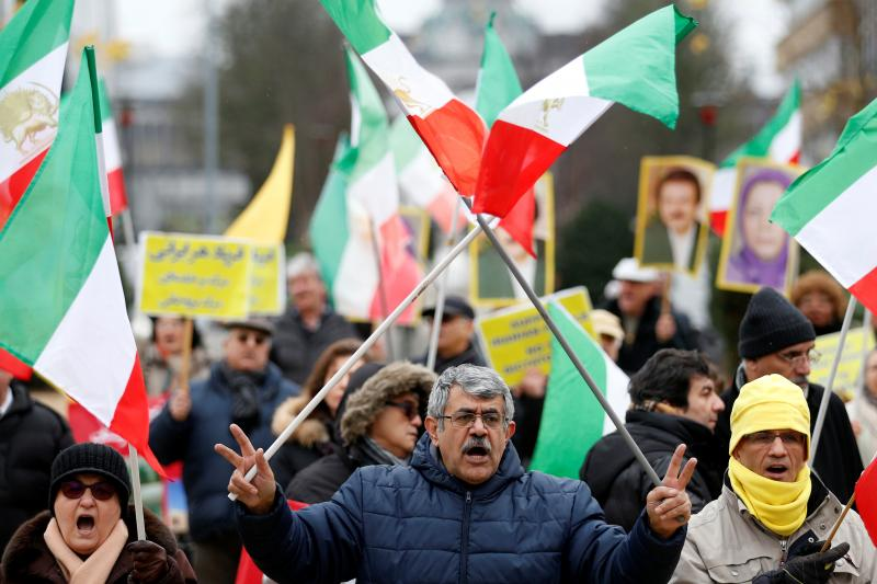 A protest against the visit of Iranian Foreign Minister Mohammad Javad Zarif, outside the European Union Council in Brussels, Belgium, January 2018.