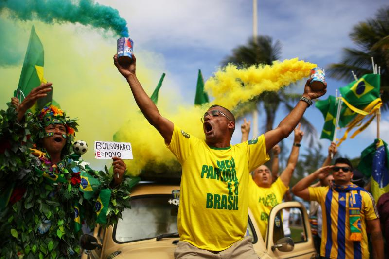 Supporters of Jair Bolsonaro celebrate during a runoff election in Rio de Janeiro, Brazil, October 28, 2018