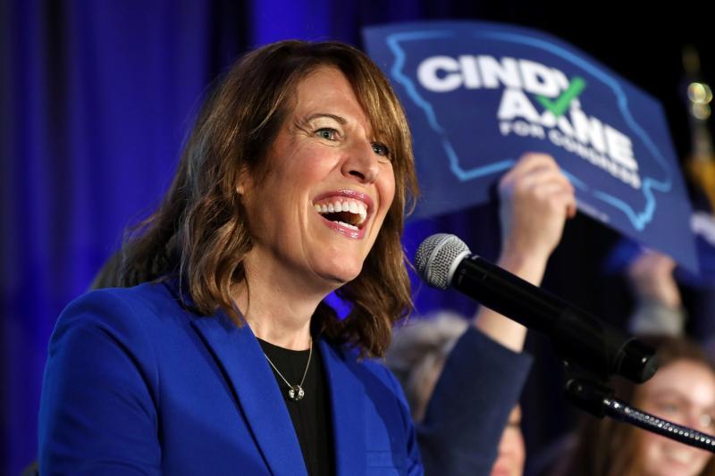 Democratic congressional candidate Cindy Axne celebrates victory in Des Moines, Iowa, November 2018