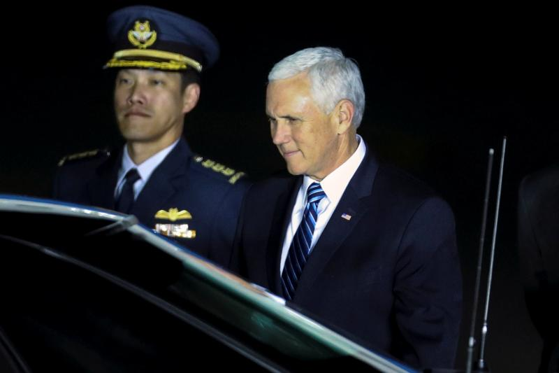 U.S. Vice President Mike Pence arrives for the ASEAN Summit at Paya Lebar Air Base in Singapore, November 2018.