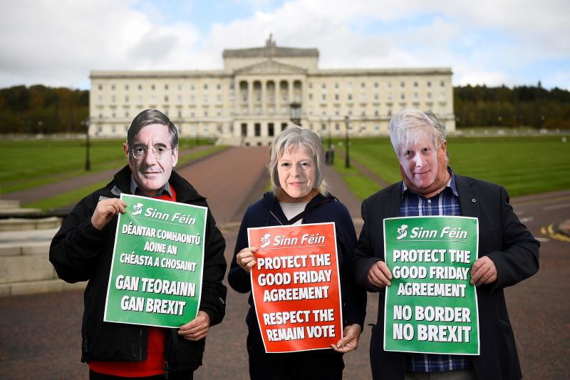 Sinn Fein members hold a protest against Brexit outside Stormont in Belfast, Northern Ireland, October 2018.