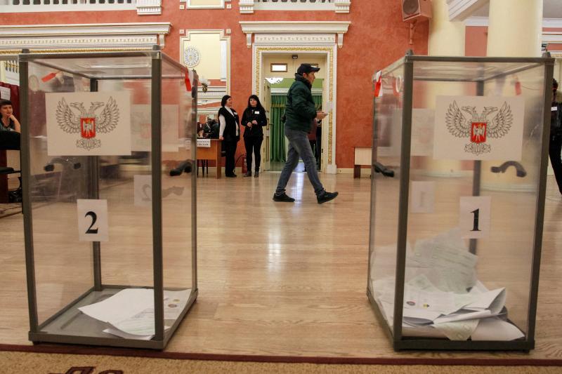 People vote during leadership elections in rebel-controlled Donetsk, Ukraine, November 11, 2018