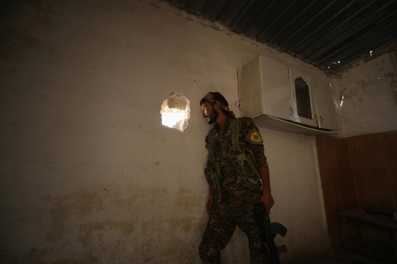 A Syrian Democratic Forces (SDF) fighter in Raqqa, Syria, June 2017