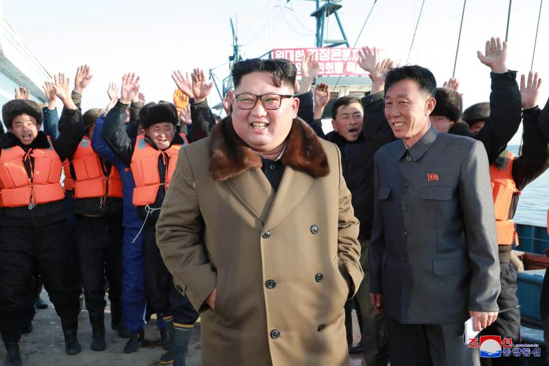 North Korean leader Kim Jong Un visits fisheries in the Donghae area, North Korea, in this picture released by the Korean Central News Agency in December 2018.