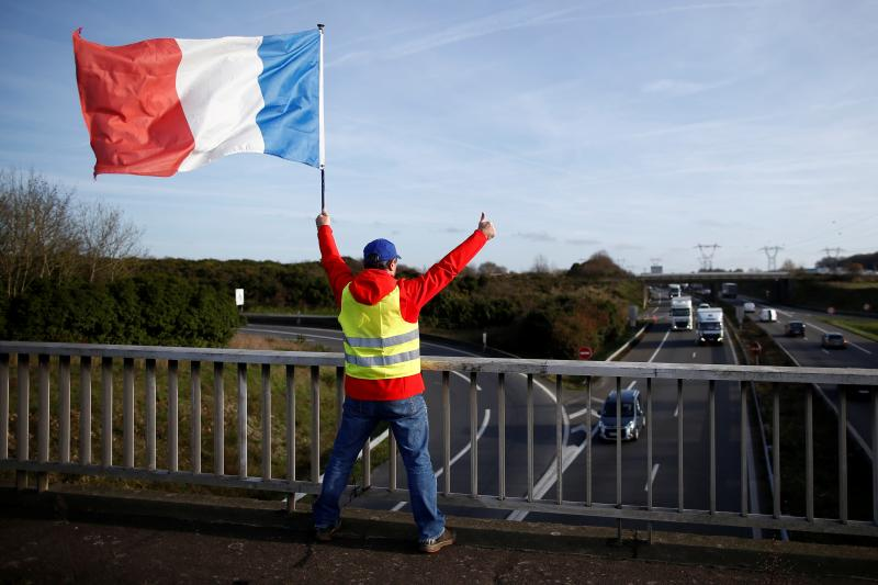 A yellow vest protestor near the airport in Nantes, December 2018.