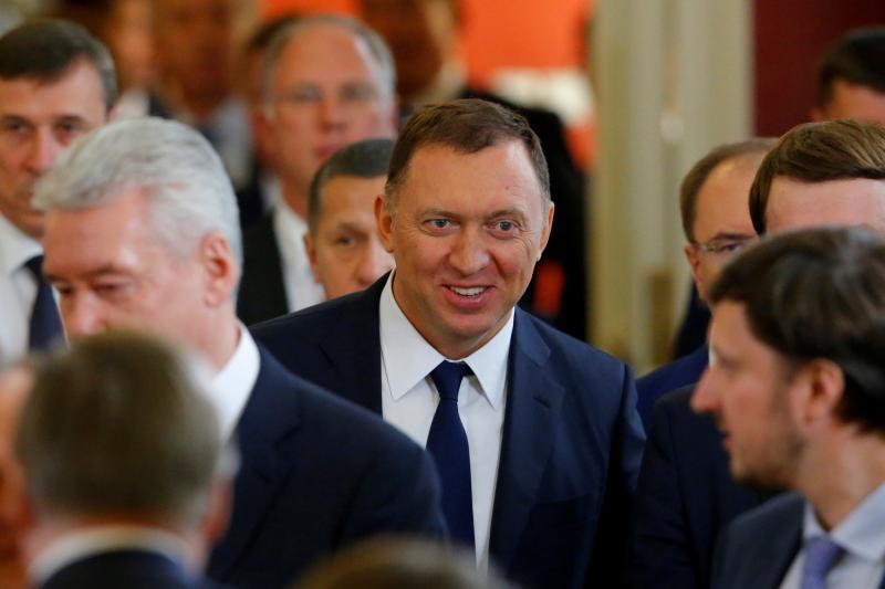 Russian aluminum tycoon Oleg Deripaska leaves after the talks of Russian President Vladimir Putin with South Korean President Moon Jae-in at the Kremlin in Moscow, June 2018.