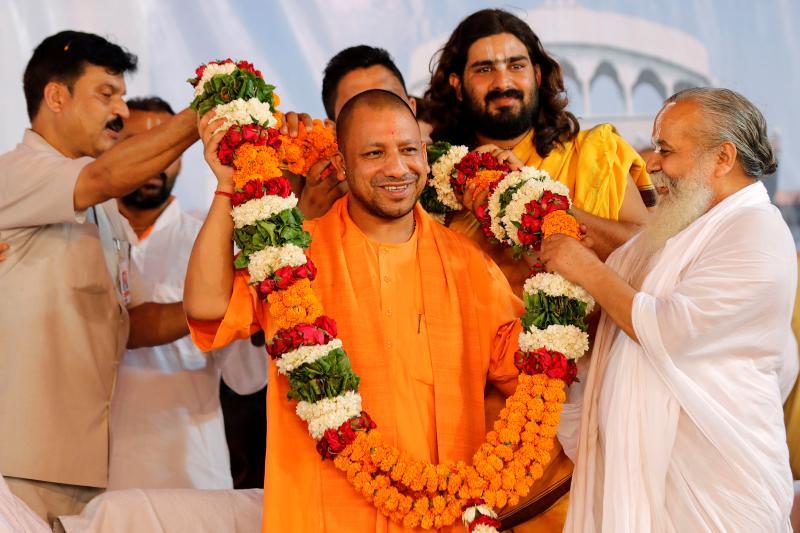 Yogi Adityanath, chief minister of Uttar Pradesh, with supporters in Ayodhya, May2017