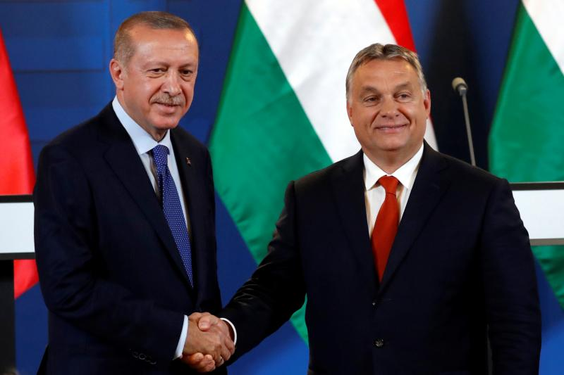 Turkish President Recep Tayyip Erdogan and Hungarian Prime Minister Viktor Orban in Budapest, Hungary, October 2018