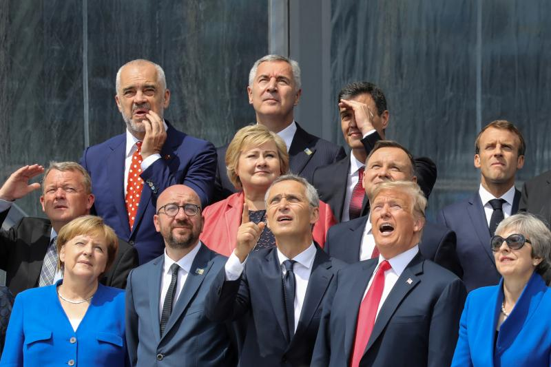 At the NATO headquarters in Brussels, Belgium, July 2018