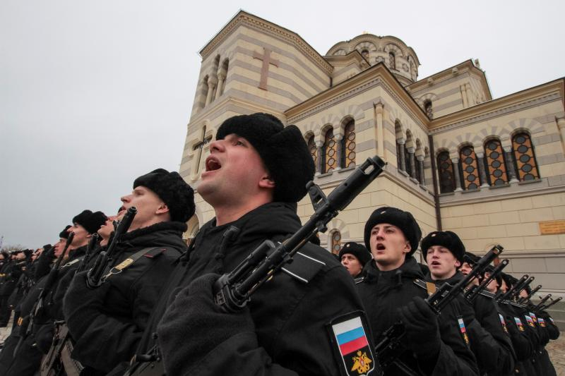 Russian sailors in Sevastopol, Crimea, February 2019
