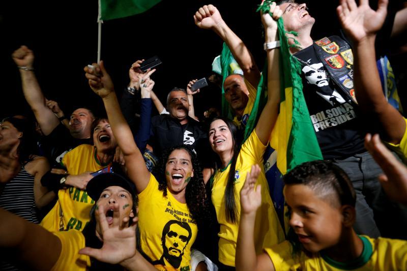 Supporters of Brazilian PresidentJair Bolsonaro in Brasilia, Brazil, October 2018