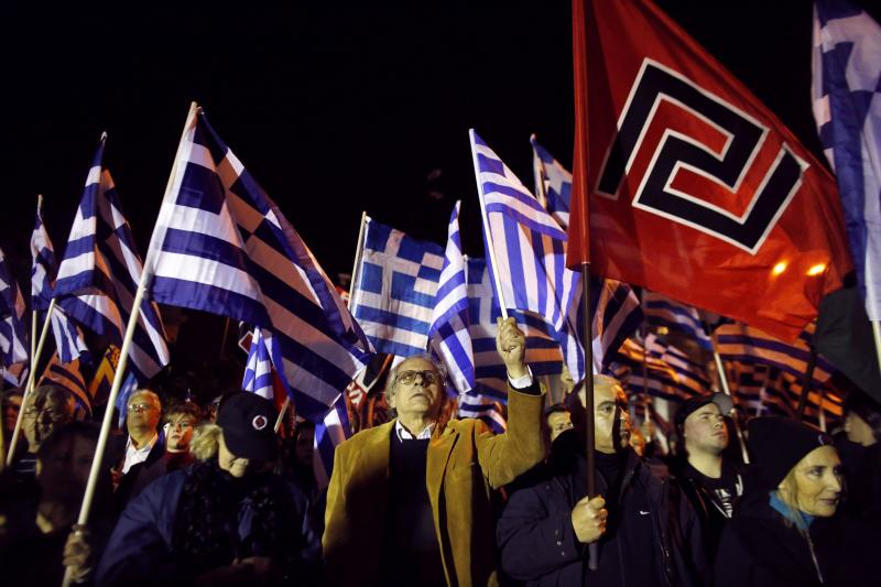Supporters of the far-right Golden Dawn party at a rally in Athens, Greece, January 2015.