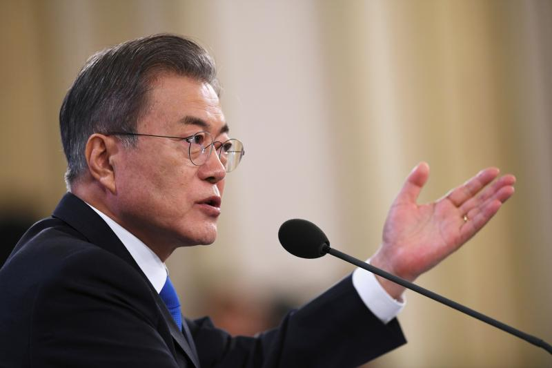 South Korean President Moon Jae-in holds his New Year press conference at the presidential Blue House in Seoul,January 2019