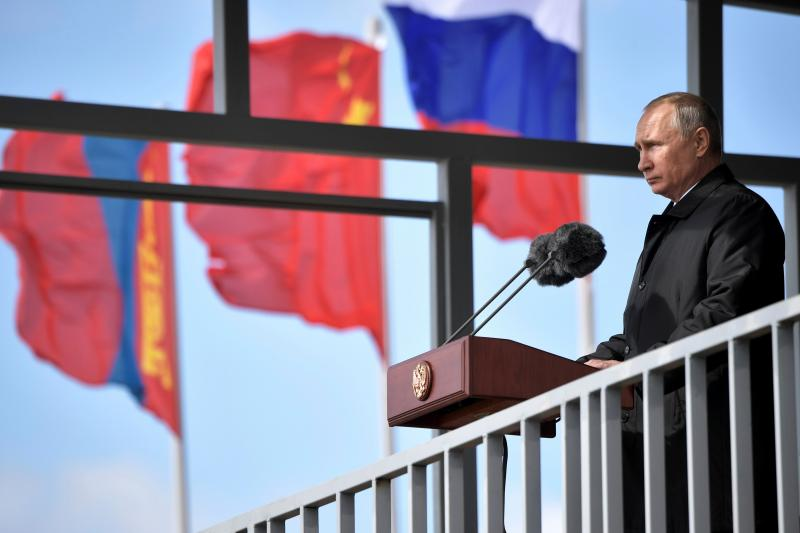 Russian President Vladimir Putin addresses the audience during the military parade of the participants of the Vostok-2018 (East-2018) war games in Zabaikalsky region, Russia, September2018