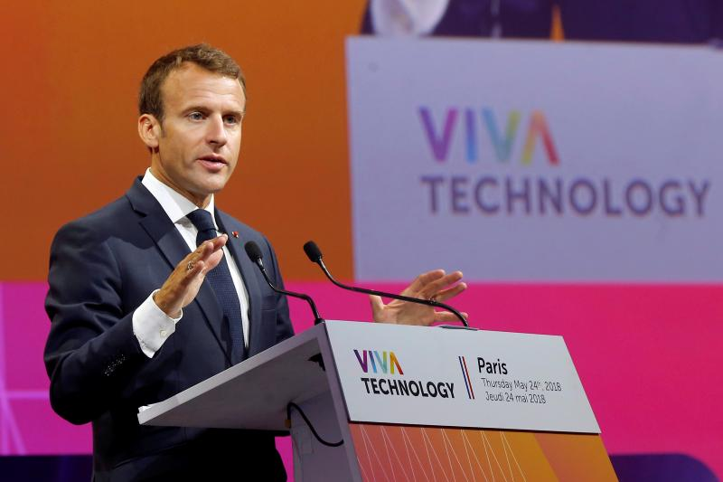 Macron at the a start-up technology summit in Paris, May 2018