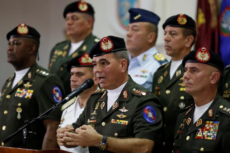 Venezuela's Defense Minister Vladimir Padrino Lopez ata news conferencein Caracas, February 2018