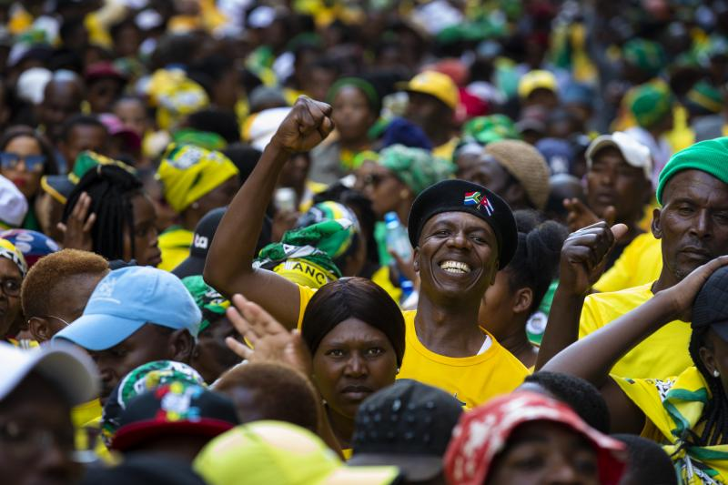 People celebrate Cyril Ramaphosa winning the South African general elections in Johannesburg, South Africa, May 2019