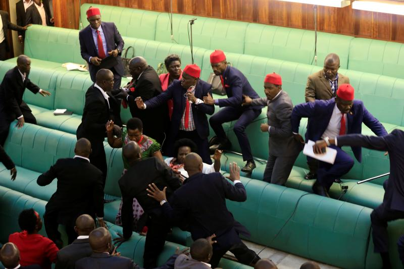 Ugandan opposition lawmakers clash with plainclothes security personnel in the Parliament, Kampala, Uganda, September 2017