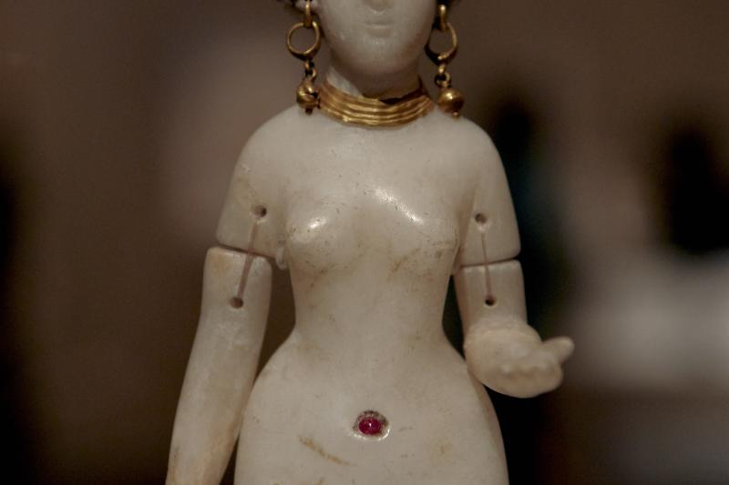 An alabaster nude goddess from Babylon on display at the Metropolitan Museum of Art in New York City, March 2019