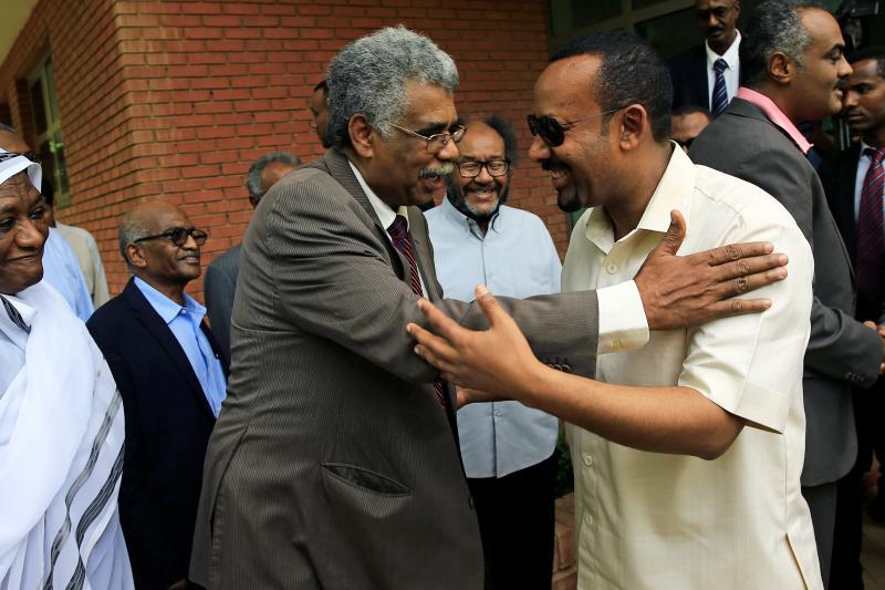 Abiy Ahmed arrives to meet members of Sudan's opposition alliance at the Ethiopian embassy in Khartoum, Sudan, June 2019