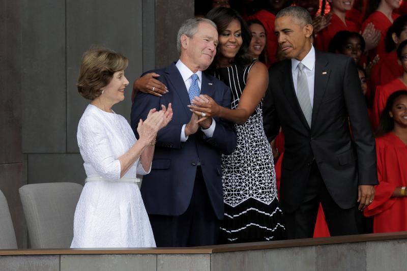 Former First Lady Laura Bush, former PresidentGeorge W. Bush, First Lady Michelle Obama, and PresidentBarack Obama in Washington, D.C., September 2016