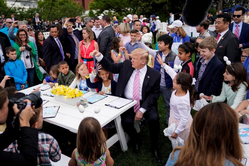 U.S. President Donald Trump at the White House Easter Egg Roll, April 2019