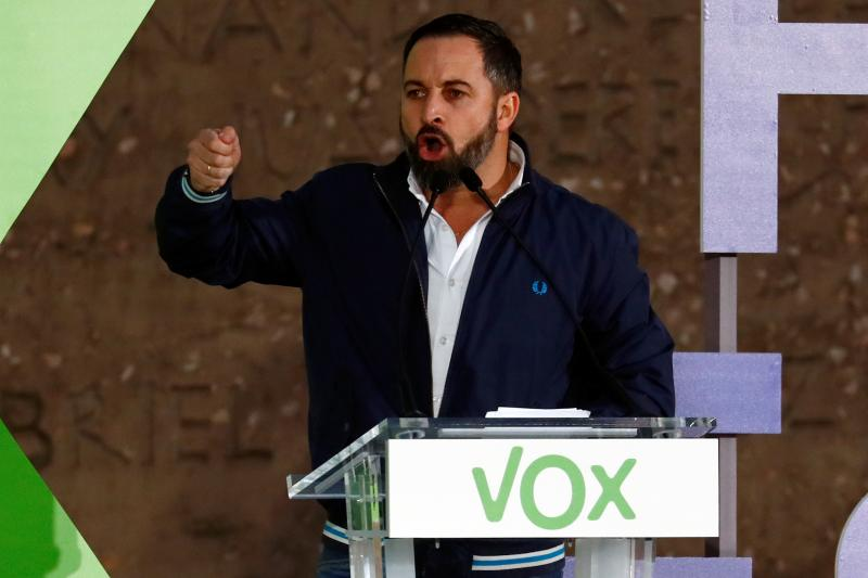 VOX leader Santiago Abascal at a rally in Madrid, April 2019