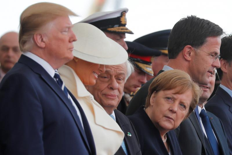 U.S. President Donald and German Chancellor Angela Merkel at the D-Day commemoration in Portsmouth, United Kingdom, June 2019
