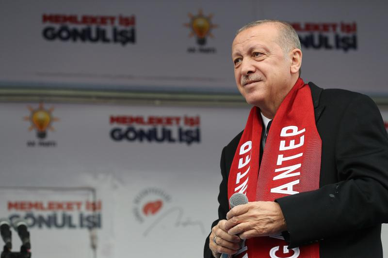 Erdogan at a Justice and Development Party (AKP) rally in March 2019