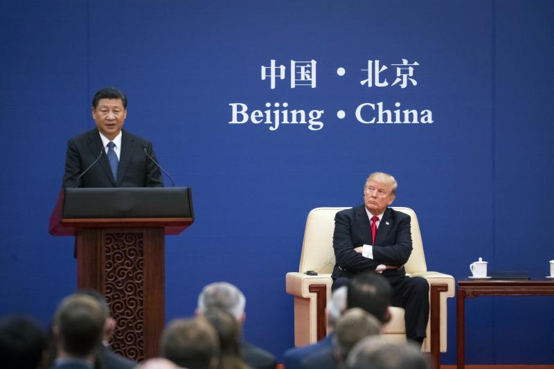 Trump andXi at an economic summit in Beijing, November2017