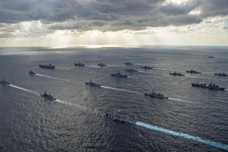 U.S. and Japanese ships during a joint naval exercise south of Japan, November 2014