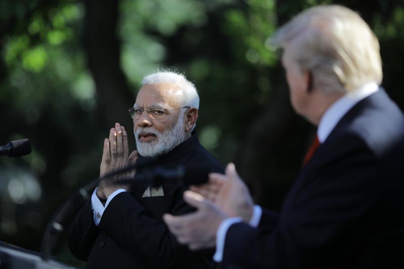 Trump and Modi at the White House in Washington, June2017