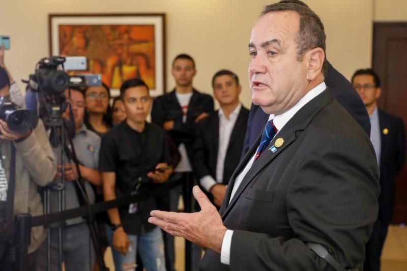 Giammattei speaks during a news conference in Guatemala City, Guatemala August 13, 2019