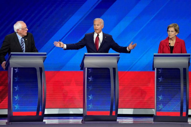 Sanders, Biden, and Warren at the Houston Democratic presidential debate, September 2019