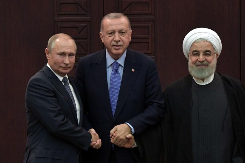 Vladimir Putin of Russia, Hassan Rouhani of Iran and Tayyip Erdogan
