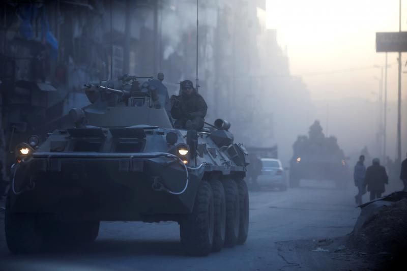 Russian soldiers onpatrol inAleppo, Syria,February 2017