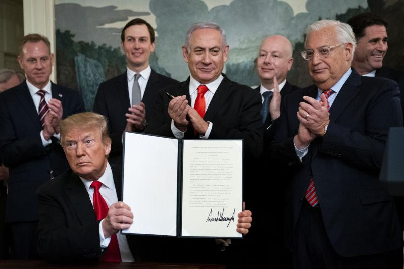 Trump recognizes Israel's sovereignty over the Golan Heights