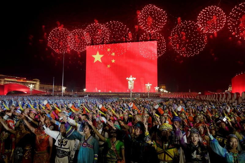 Fireworks explode over Tiananmen Square as performers take part in the evening gala marking the 70th founding anniversary of People's Republic of China, on its National Day in Beijing, China October 1, 2019.