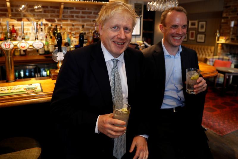 Boris Johnson and Dominic Raab at a pub in Oxshott, United Kingdom inJune, 2019